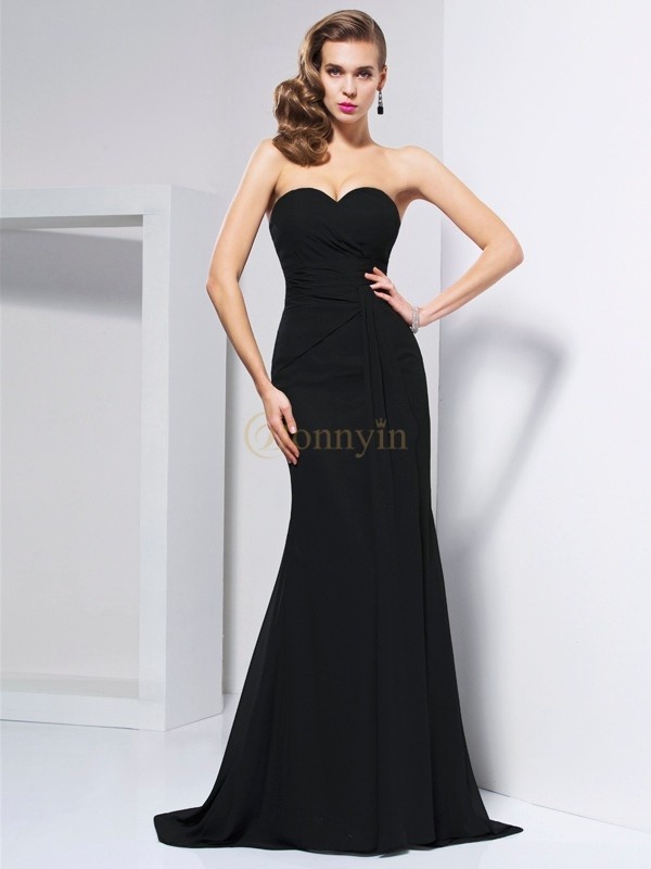 Black Chiffon Sweetheart Trumpet/Mermaid Sweep/Brush Train Dresses
