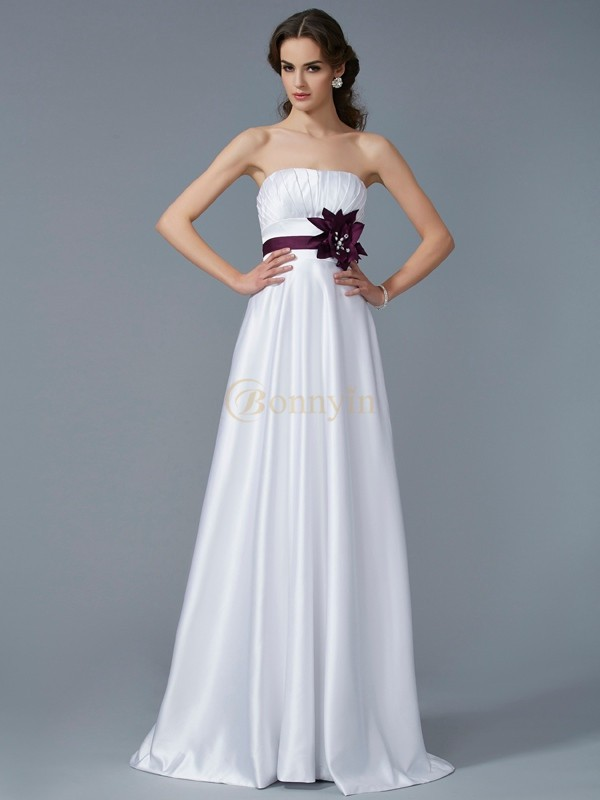 White Satin Strapless A-Line/Princess Sweep/Brush Train Dresses