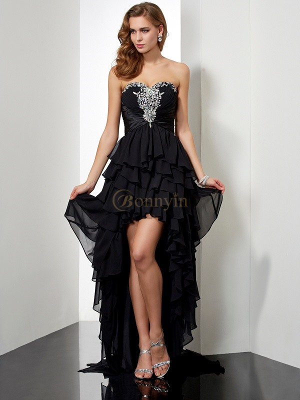 Black Chiffon Sweetheart A-Line/Princess Asymmetrical Dresses