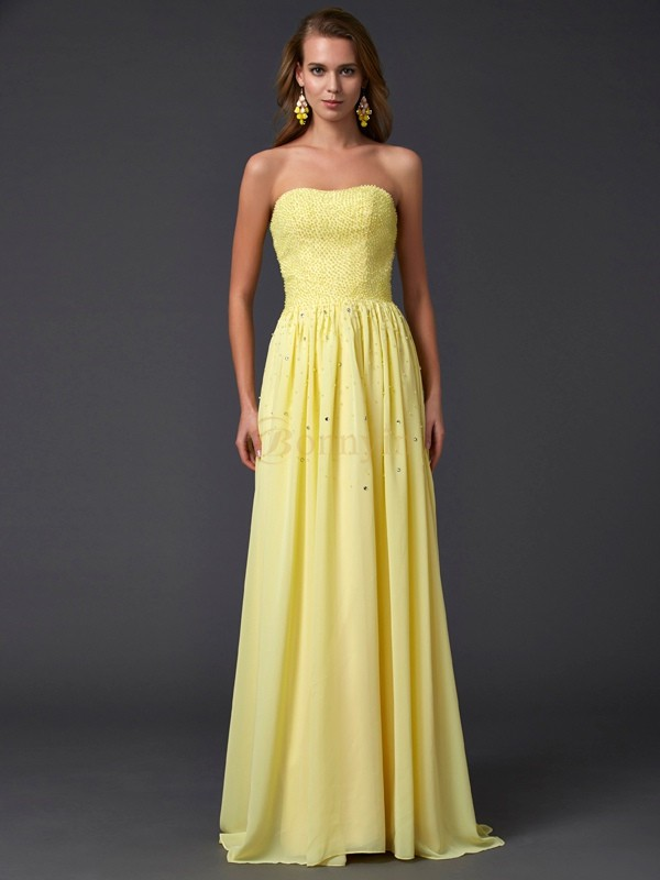 Daffodil Chiffon Strapless A-Line/Princess Sweep/Brush Train Dresses