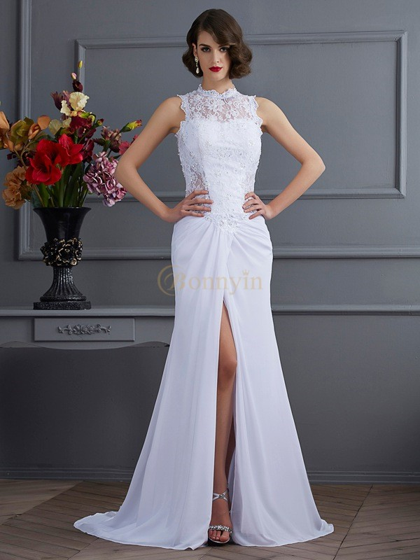 White Chiffon High Neck Sheath/Column Sweep/Brush Train Dresses
