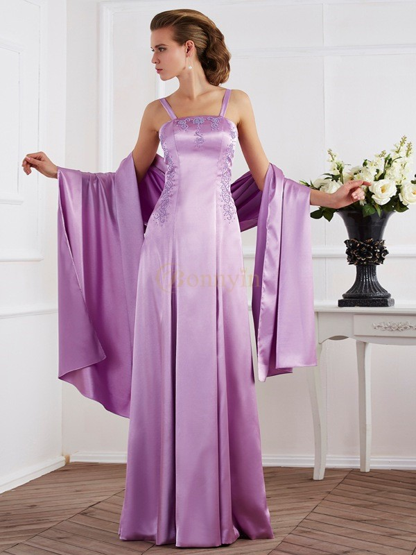 Lilac Elastic Woven Satin Spaghetti Straps A-Line/Princess Floor-Length Dresses