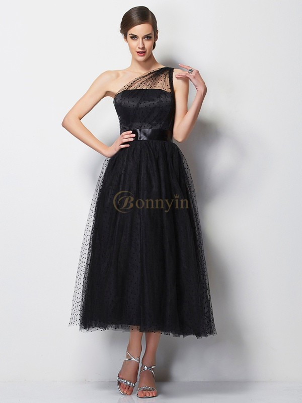Black Elastic Woven Satin Net One-Shoulder A-Line/Princess Tea-Length Bridesmaid Dresses