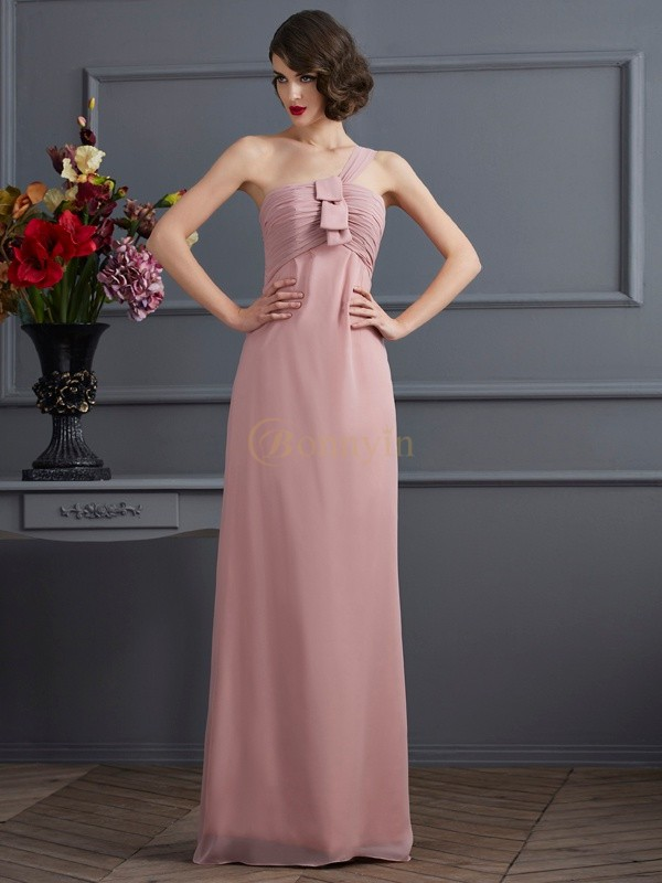 Pearl Pink Chiffon One-Shoulder Sheath/Column Floor-Length Bridesmaid Dresses