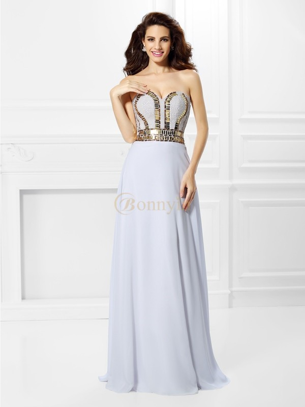 White Chiffon Sweetheart Empire Floor-Length Dresses