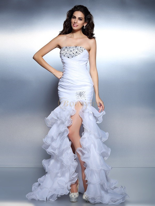 White Organza Strapless Trumpet/Mermaid Floor-Length Prom Dresses