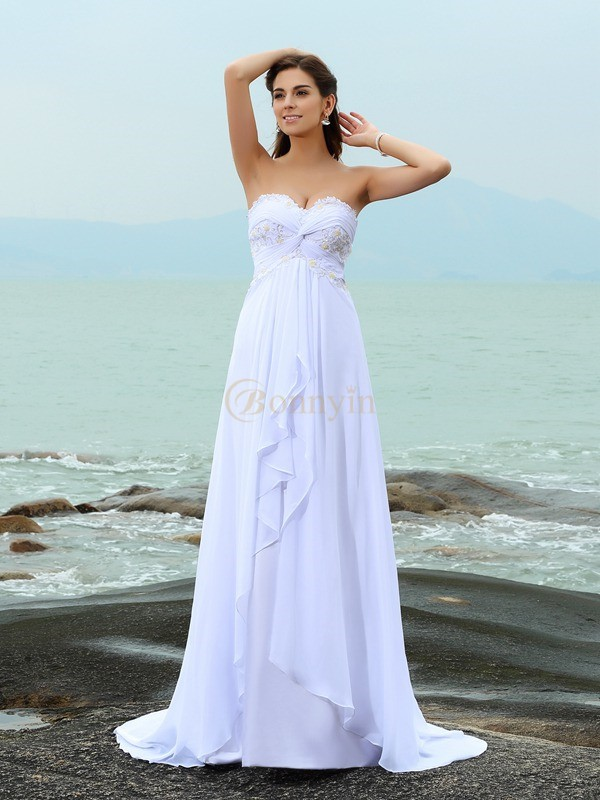 White Chiffon Sweetheart A-Line/Princess Sweep/Brush Train Wedding Dresses