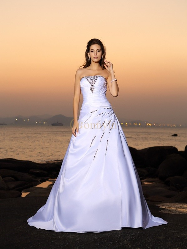 Ivory Satin Strapless A-Line/Princess Chapel Train Wedding Dresses