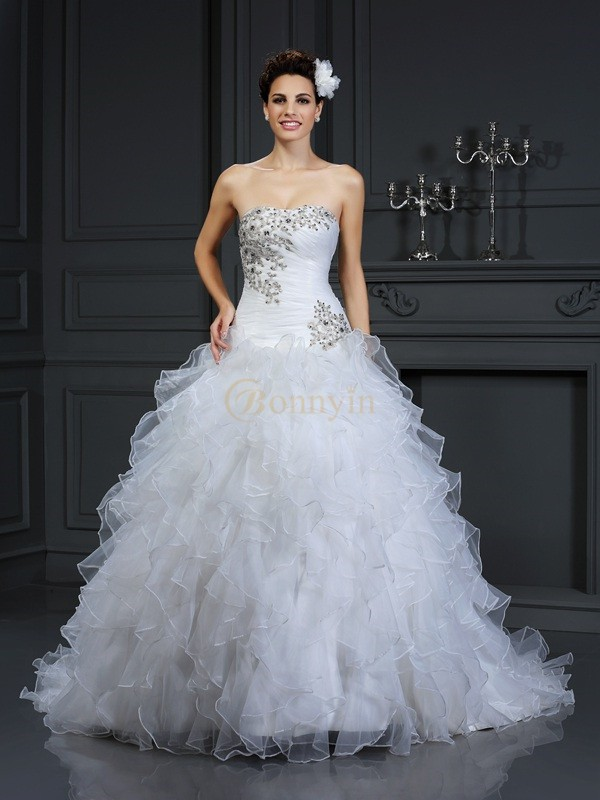 Ivory Organza Strapless Ball Gown Chapel Train Wedding Dresses