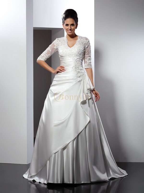 Ivory Satin V-neck A-Line/Princess Chapel Train Wedding Dresses