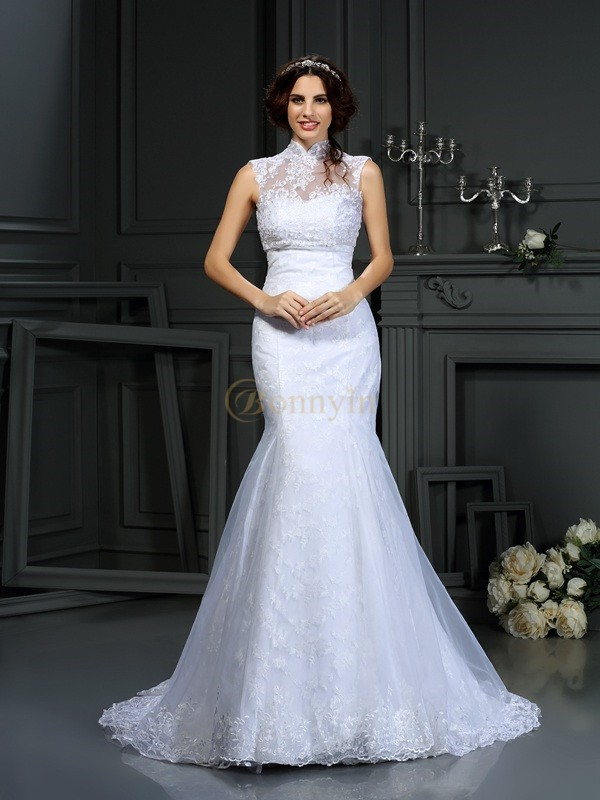 White Satin Sweetheart Trumpet/Mermaid Court Train Wedding Dresses