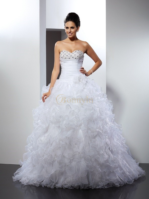 White Organza Sweetheart Ball Gown Cathedral Train Wedding Dresses
