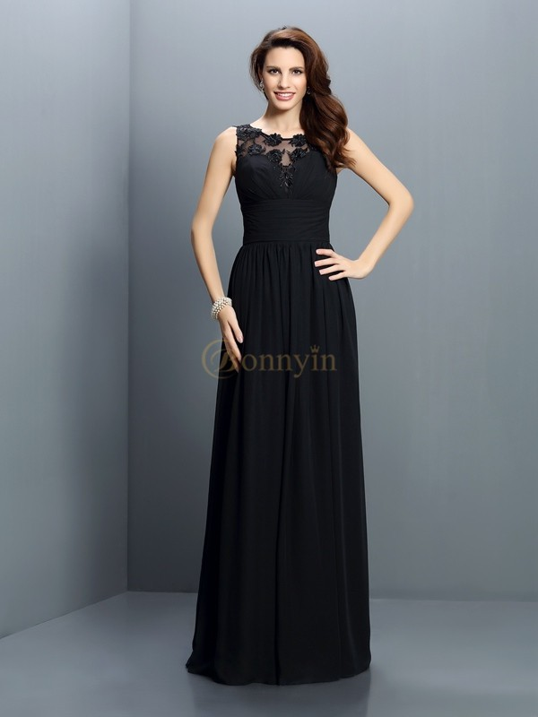Black Chiffon Bateau A-Line/Princess Floor-Length Bridesmaid Dresses