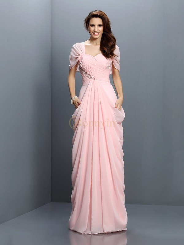 Pink Chiffon Sweetheart A-Line/Princess Floor-Length Bridesmaid Dresses