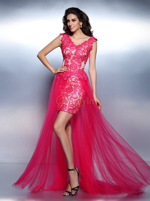 Fuchsia Lace V-neck A-Line/Princess Floor-Length Dresses