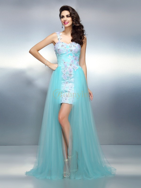 Blue Elastic Woven Satin One-Shoulder Sheath/Column Sweep/Brush Train Prom Dresses