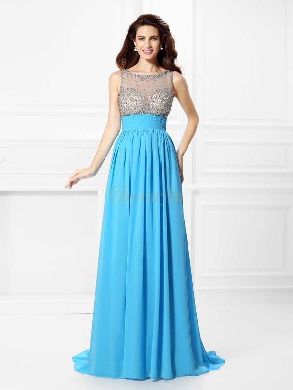 Blue Chiffon Bateau A-Line/Princess Sweep/Brush Train Prom Dresses