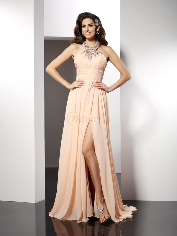 Champagne Chiffon Jewel A-Line/Princess Sweep/Brush Train Dresses