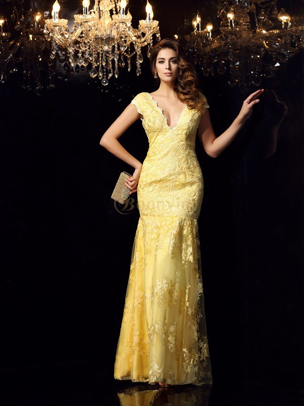 Daffodil Lace V-neck Trumpet/Mermaid Floor-Length Dresses