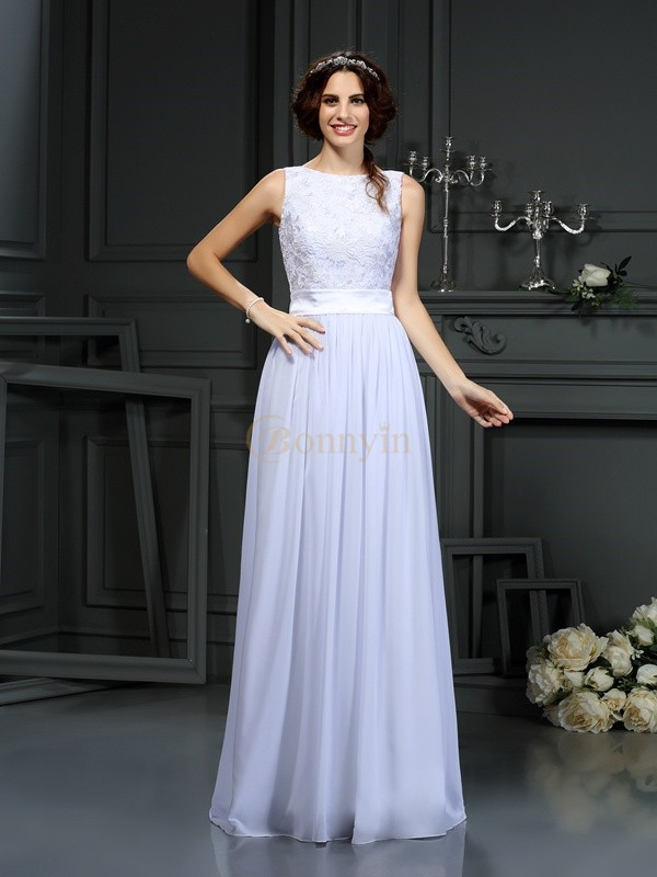 White Chiffon Scoop A-Line/Princess Floor-Length Wedding Dresses