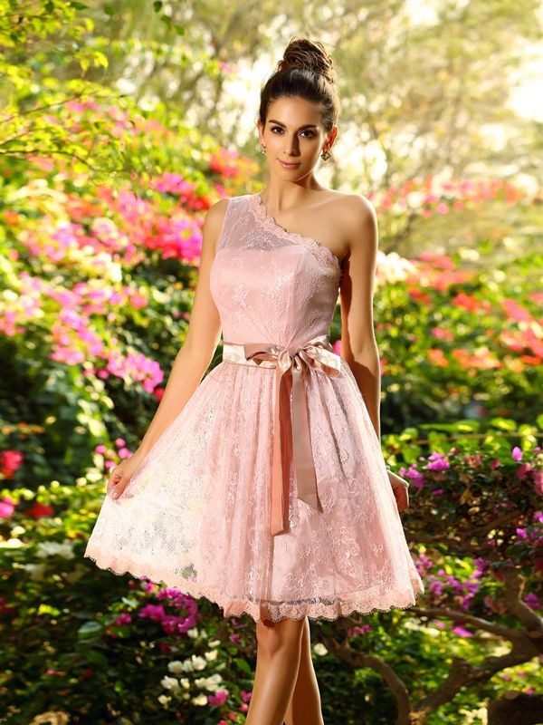 Pearl Pink Elastic Woven Satin One-Shoulder A-Line/Princess Knee-Length Bridesmaid Dresses