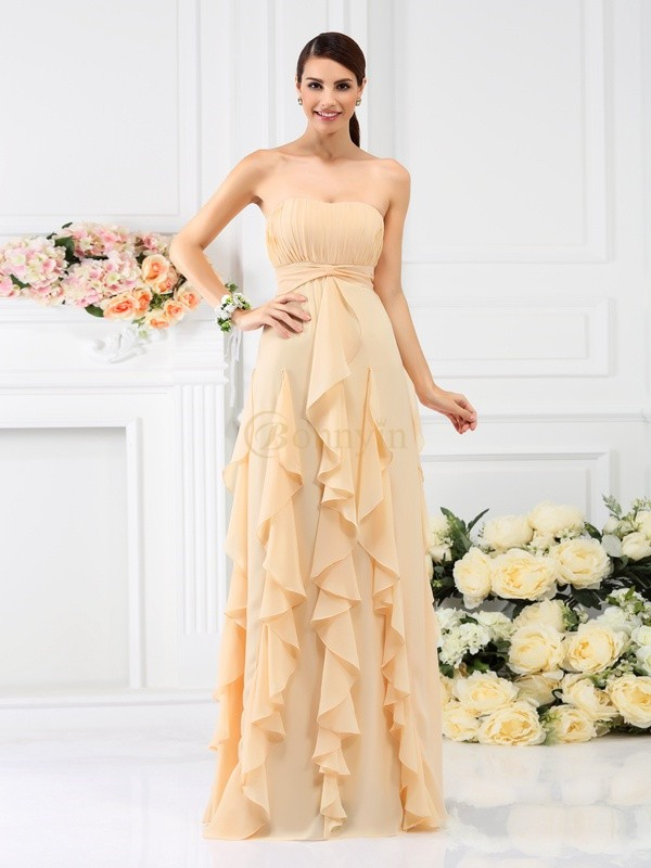 Champagne Chiffon Strapless A-Line/Princess Floor-Length Bridesmaid Dresses