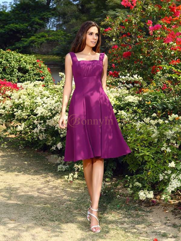 Grape Chiffon Square A-Line/Princess Knee-Length Bridesmaid Dresses