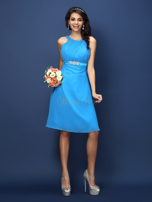 Blue Chiffon Bateau A-Line/Princess Knee-Length Bridesmaid Dresses
