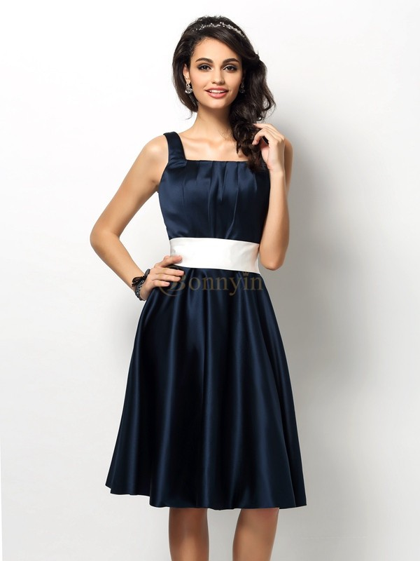 Dark Navy Satin Square Sheath/Column Knee-Length Bridesmaid Dresses