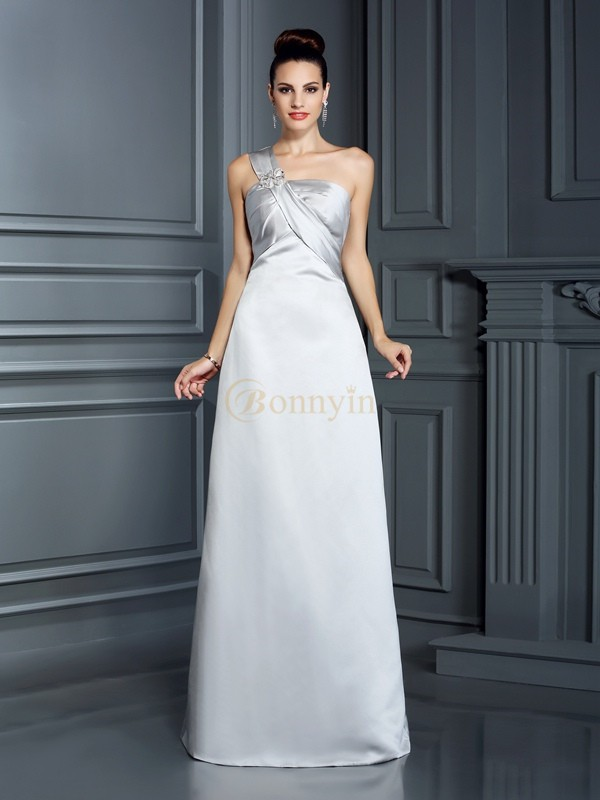 Silver Satin One-Shoulder A-Line/Princess Floor-Length Dresses