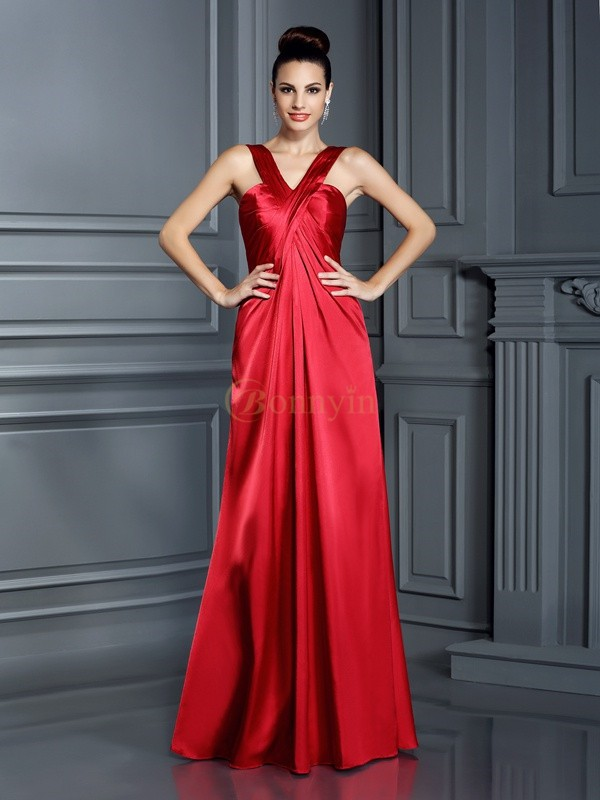 Red Elastic Woven Satin Straps A-Line/Princess Floor-Length Bridesmaid Dresses