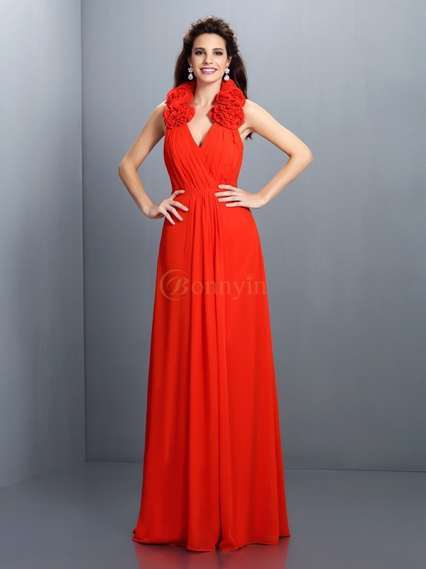 Red Chiffon Halter A-Line/Princess Floor-Length Dresses
