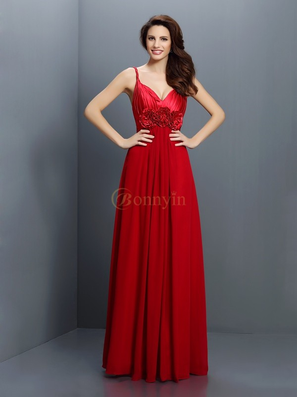 Red Chiffon V-neck A-Line/Princess Floor-Length Bridesmaid Dresses