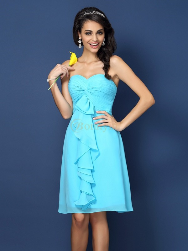 Blue Chiffon Sweetheart A-Line/Princess Knee-Length Bridesmaid Dresses