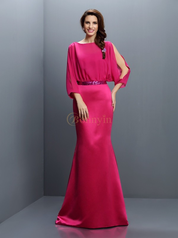 Fuchsia Chiffon Bateau Trumpet/Mermaid Sweep/Brush Train Bridesmaid Dresses