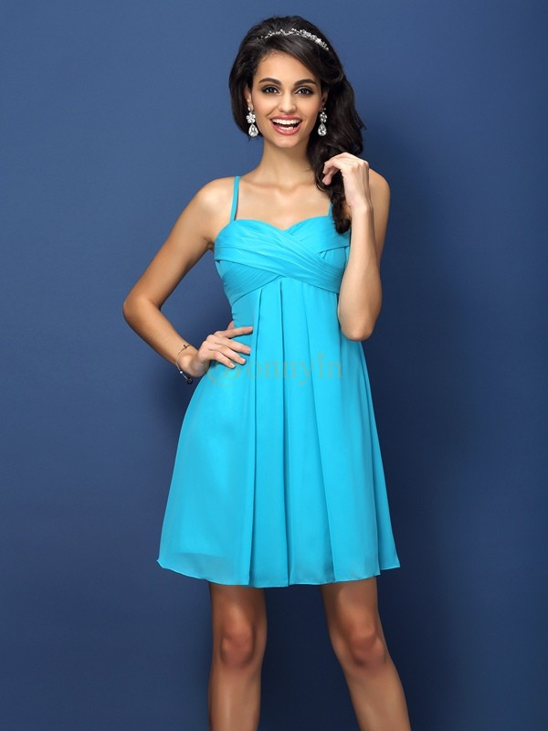 Blue Chiffon Spaghetti Straps A-Line/Princess Short/Mini Bridesmaid Dresses