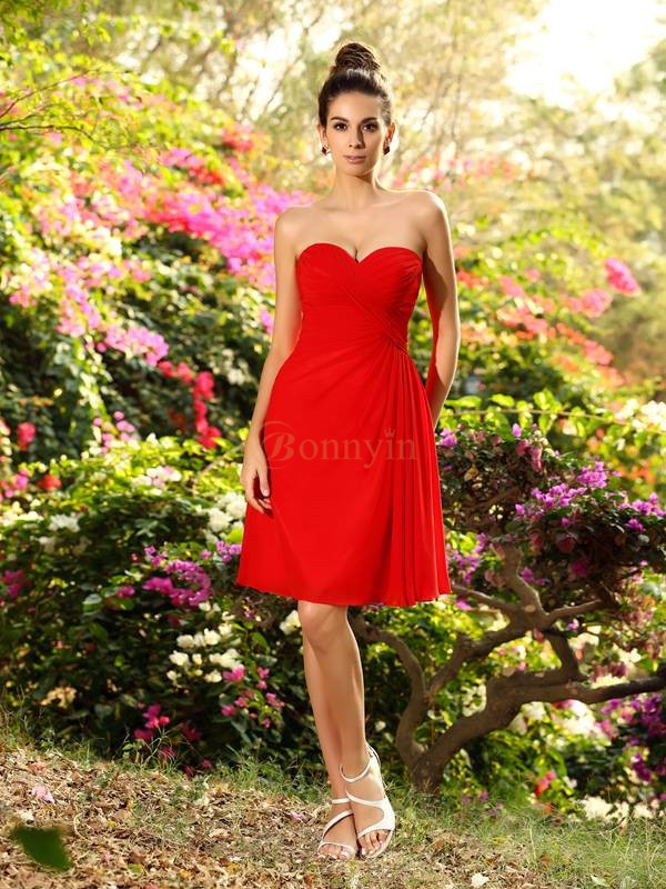 Red Chiffon Sweetheart A-Line/Princess Knee-Length Bridesmaid Dresses