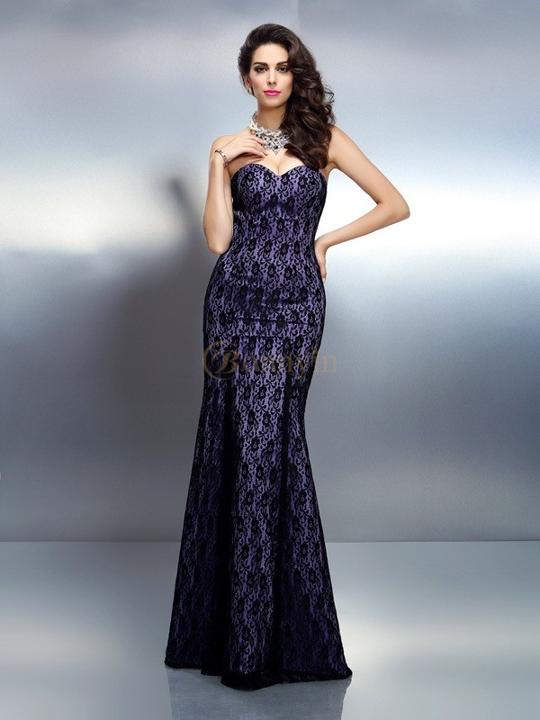 Grape Satin Sweetheart Trumpet/Mermaid Floor-Length Dresses