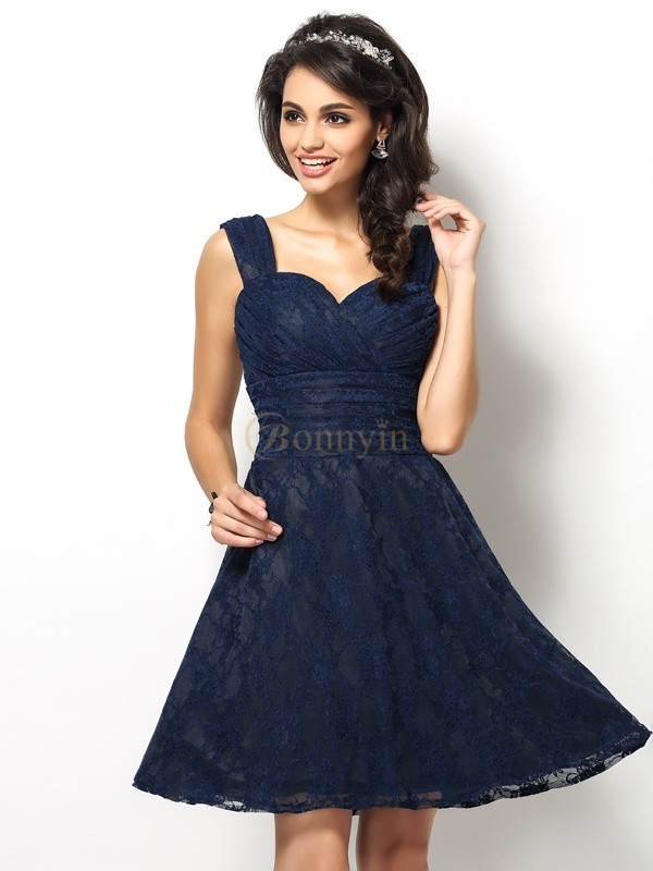 Dark Navy Satin Straps A-Line/Princess Short/Mini Bridesmaid Dresses