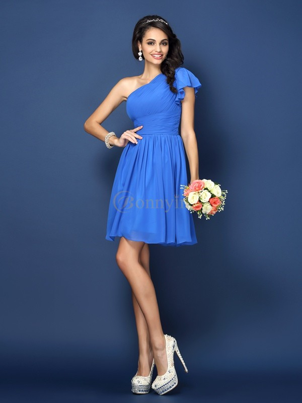 Blue Chiffon One-Shoulder A-Line/Princess Short/Mini Bridesmaid Dresses