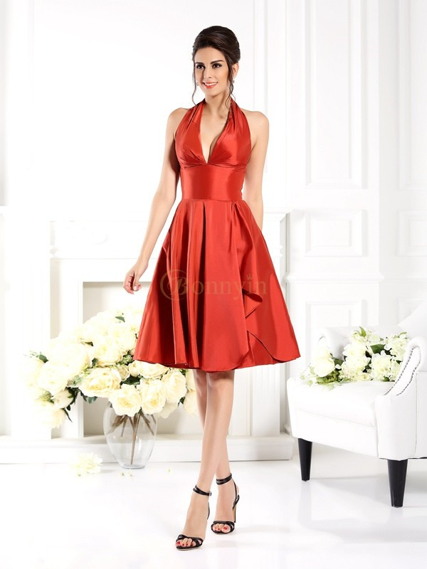 Orange Taffeta Halter A-Line/Princess Knee-Length Bridesmaid Dresses