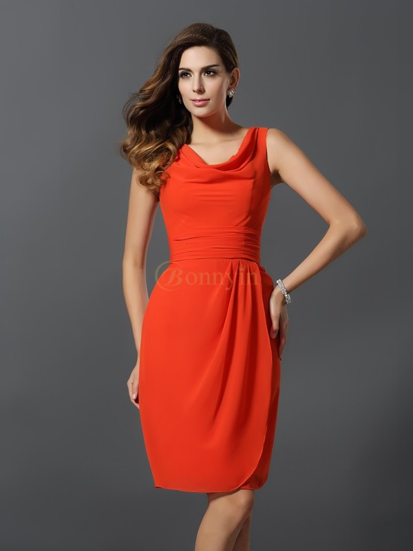 Orange Chiffon Scoop A-Line/Princess Short/Mini Bridesmaid Dresses