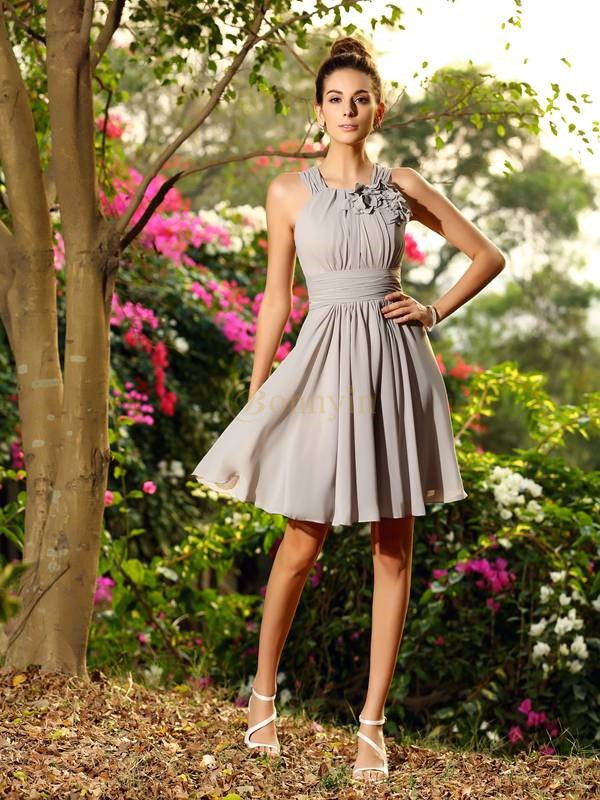 Silver Chiffon Scoop A-Line/Princess Knee-Length Bridesmaid Dresses