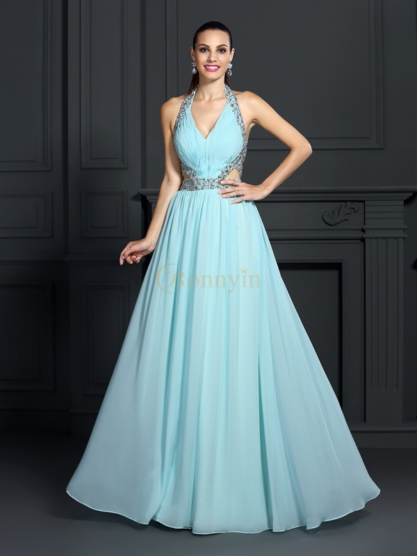 Blue Chiffon Halter A-Line/Princess Floor-Length Dresses