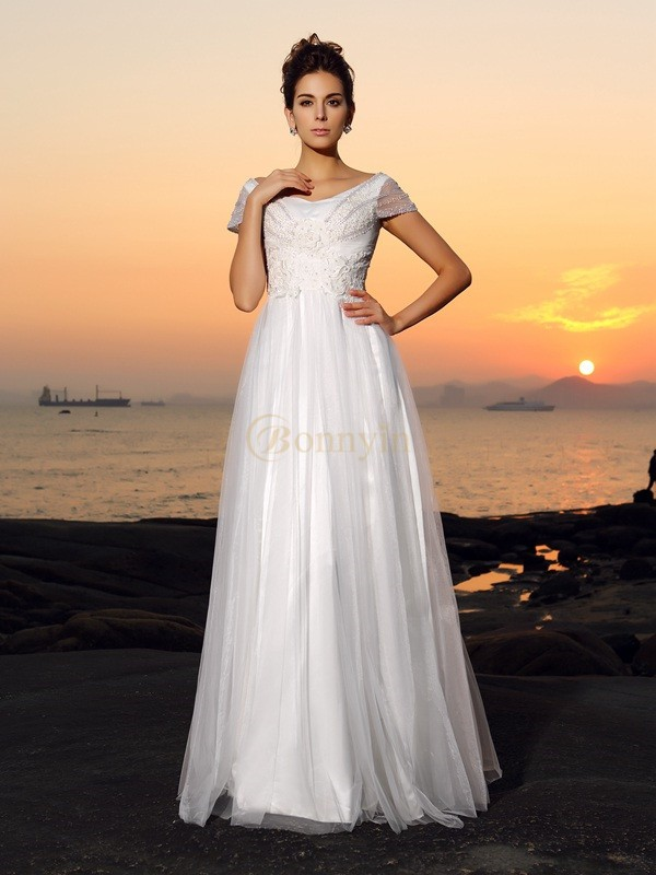 Ivory Tulle Off-the-Shoulder A-Line/Princess Floor-Length Wedding Dresses
