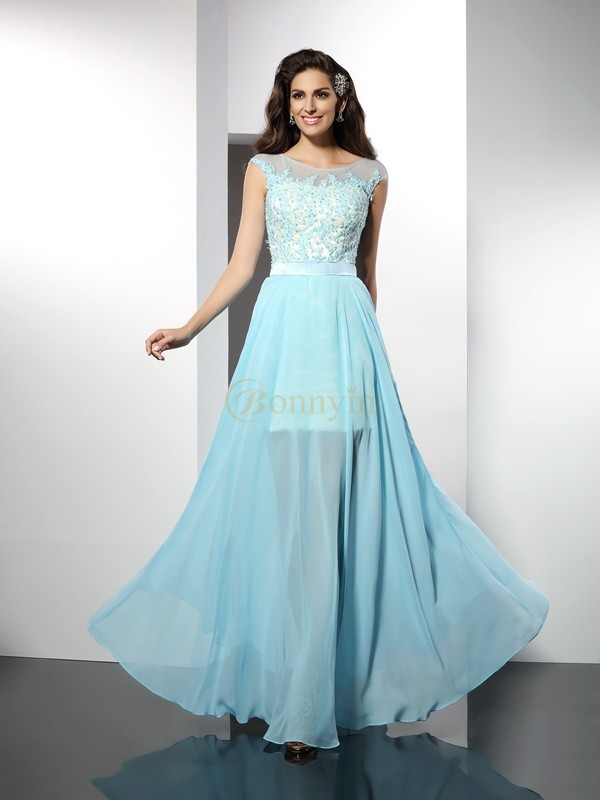 Light Sky Blue Chiffon Bateau A-Line/Princess Floor-Length Dresses