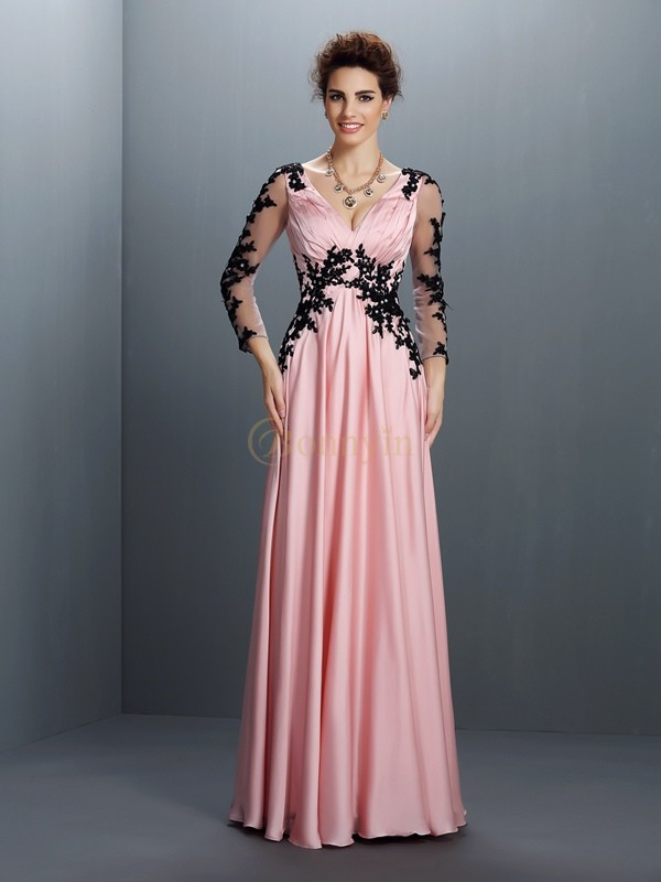 Pink Chiffon V-neck A-Line/Princess Floor-Length Dresses