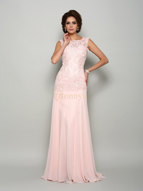 Pearl Pink Chiffon Scoop Trumpet/Mermaid Sweep/Brush Train Mother of the Bride Dresses