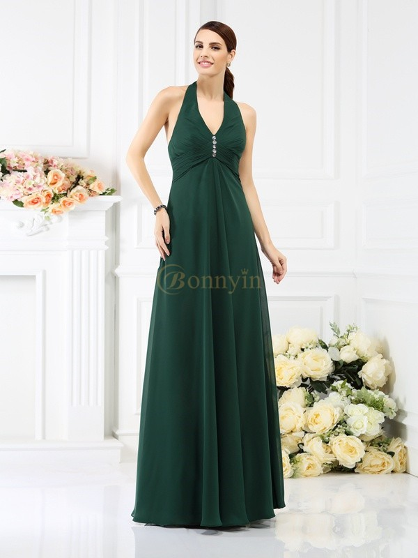 Dark Green Chiffon Halter A-Line/Princess Floor-Length Bridesmaid Dresses