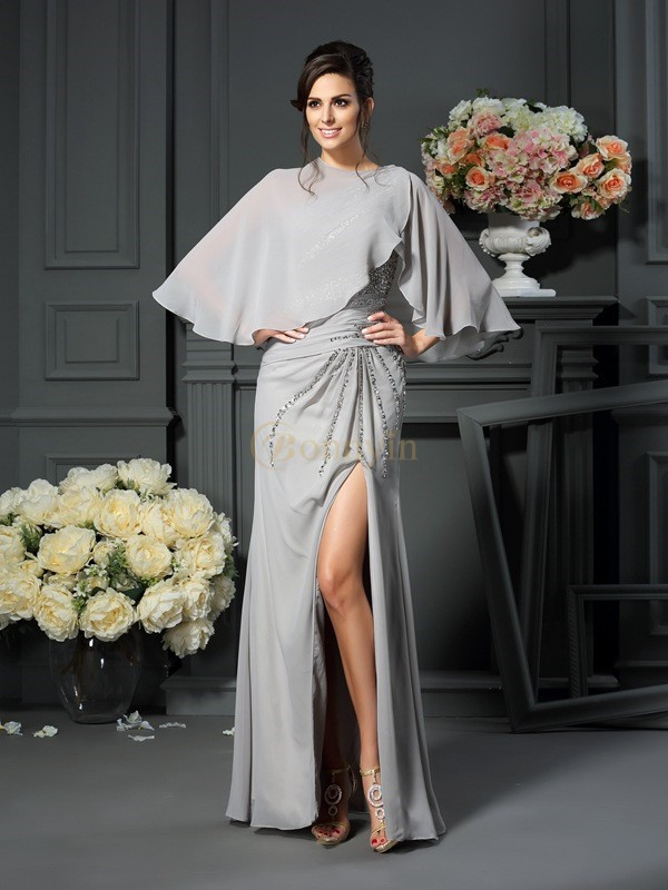 Silver Chiffon One-Shoulder Trumpet/Mermaid Floor-Length Mother of the Bride Dresses